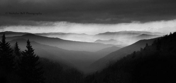 Smoky Mountain Vista black and white