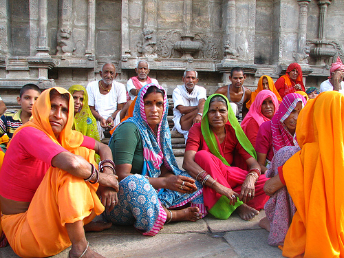 brightly garbed Rajasthani women pilgrims sari