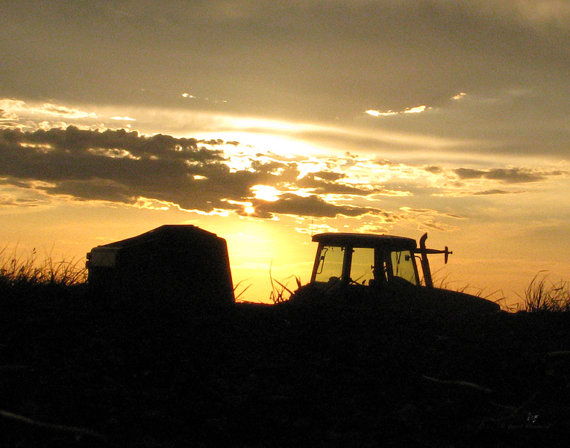 Kansas Tractor & Baler at Sunset