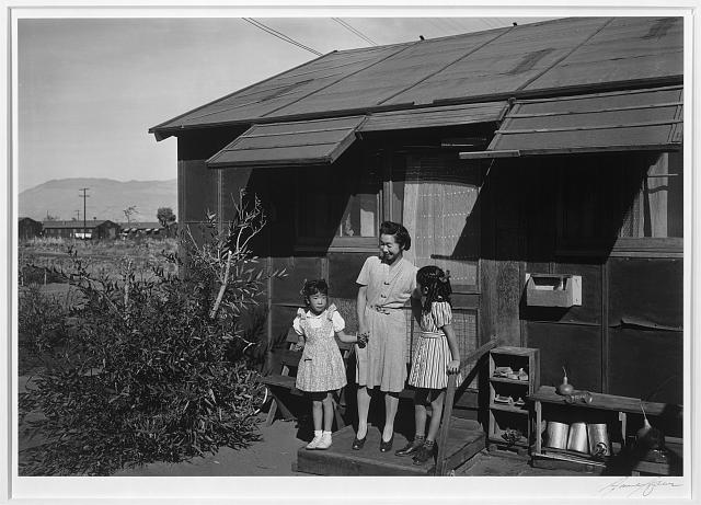 Mrs. Naguchi and two children ansel adams