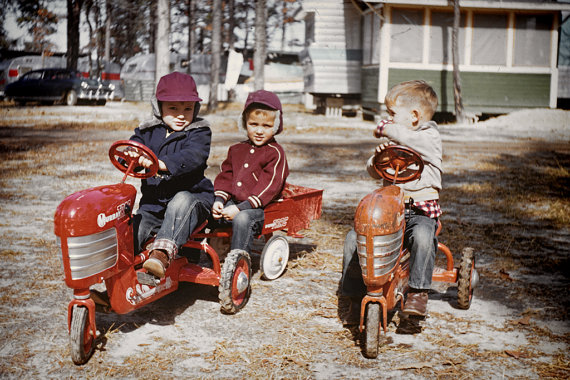 Before Video Games--Boys Playing with Retro 50's Toy Tractors