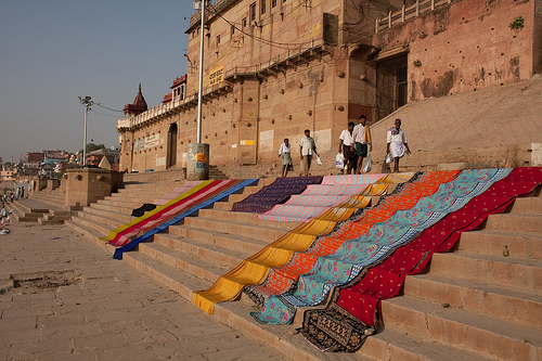 Drying saris in Varanasi