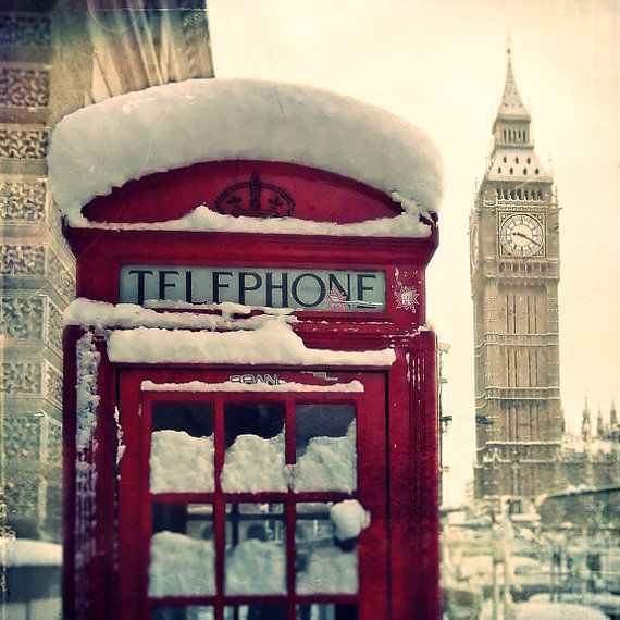 london red phone booth snow