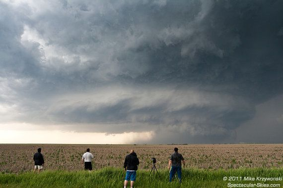 Storm Chasers Admire a Severe Supercell Thunderstorm in Hill City, Kansas
