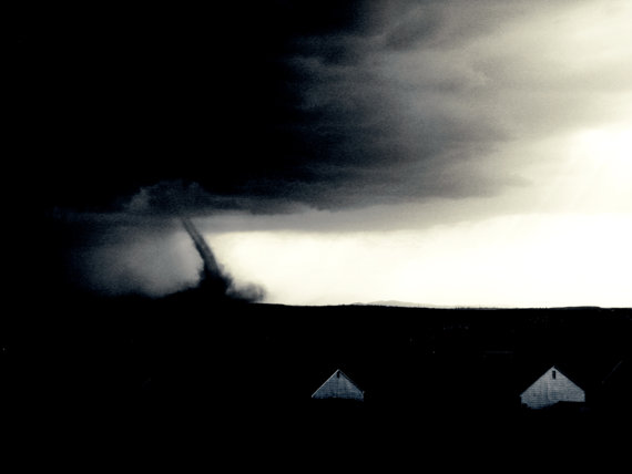 Tornado Hitting the Ground, black & white