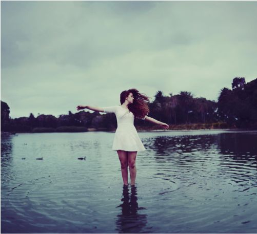portrait white dress water