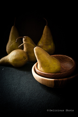 Spiced panela poached pears