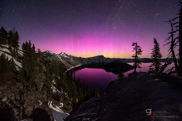 Aurora over Crater Lake