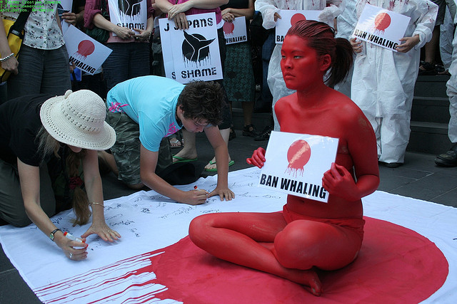 Street protest Japan anti-whaling