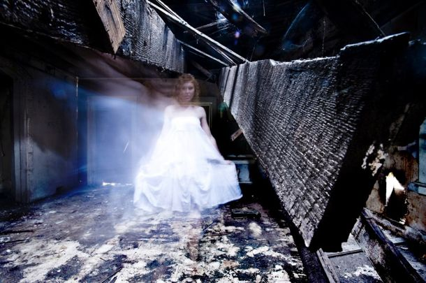 ghostly girl in abandoned building