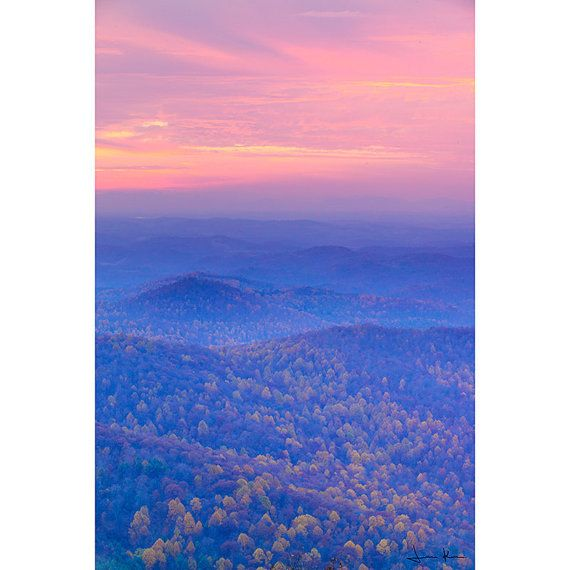 Fall foliage on the Blue Ridge Mountains in Floyd county, Virginia