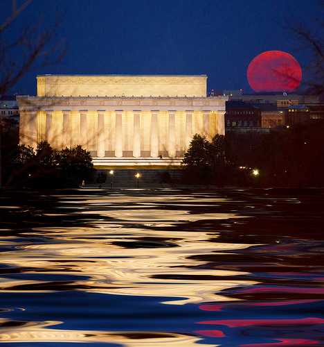 Super Perigee Moon rising near Lincoln Memorial, Saturday, March 19, 2011, in Washington, DC by Beverly full moon