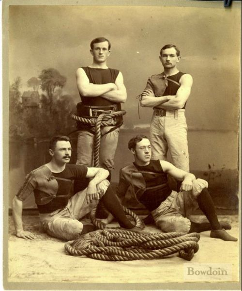 The Bowdoin College Tug of War Team, 1891. From top left,  John Horne, James Merriman, George Mahoney, Jonathan Cilley.