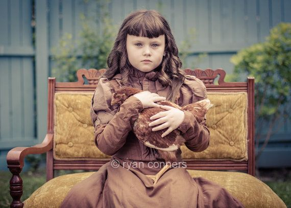 Victorian Girl and Her Chicken