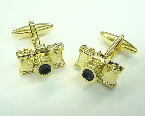 Retro Old-school Gold Tone 35mm Camera Cufflinks