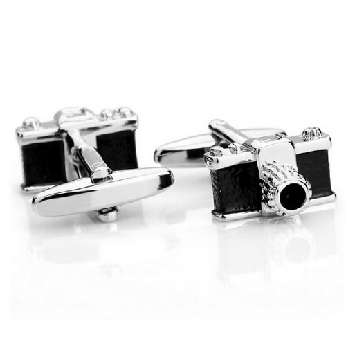 JBlue Jewelry men's Rhodium Plated Cufflinks Silver Black