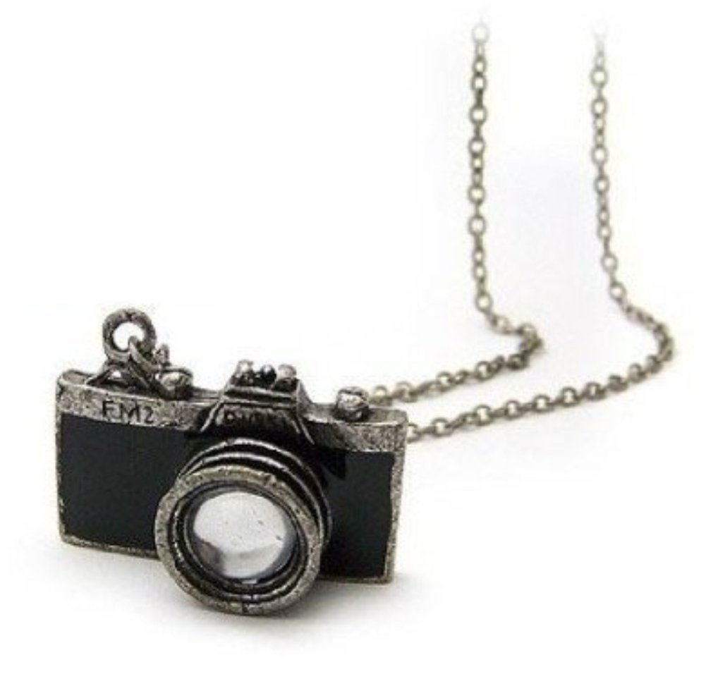Vintage Black Old Camera Lens Pendant Necklace Photographer Silver Jewelry Gift