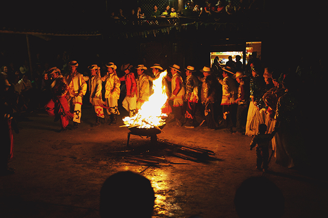 The Musuo sing and dance at nighttime