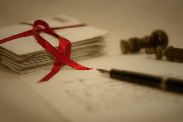 red_ribbon writing letter write