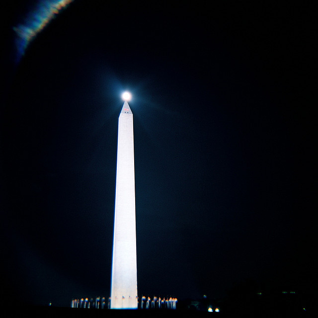 Diana catches the moon balancing on the Washington Monument