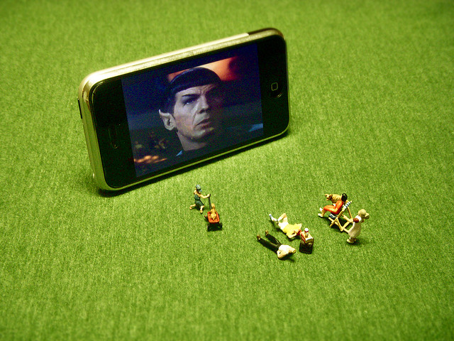 cell phone iPhone Watching Star Trek