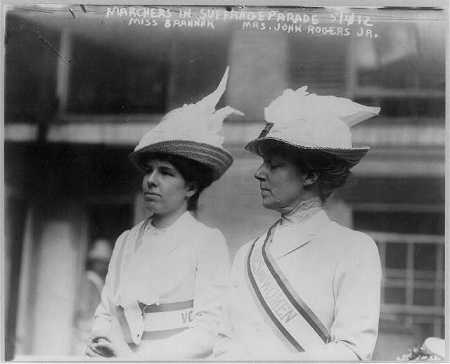 Marchers in Suffrage parade, 5/4/12 - Miss Brannan & Mrs. John Rogers, Jr.
