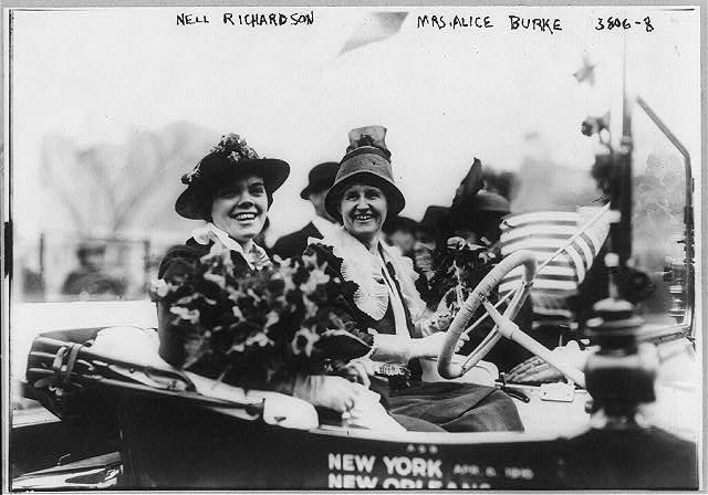 "Suffragettes - Mrs. Alice Burke and Nell Richardson in the suffrage automobile ""Golden Flyer"" in which they will drive from New York to San Francisco. April 7, 1916."