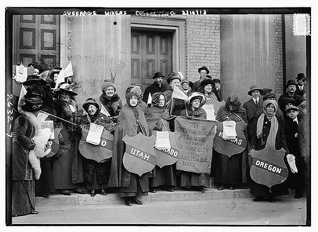 Suffrage hikers collecting