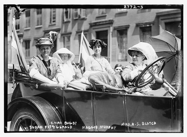 suffragette Susan Fitzgerald, Emma Bugby, Maggie Murphy, and Mrs. H.S. Blatch