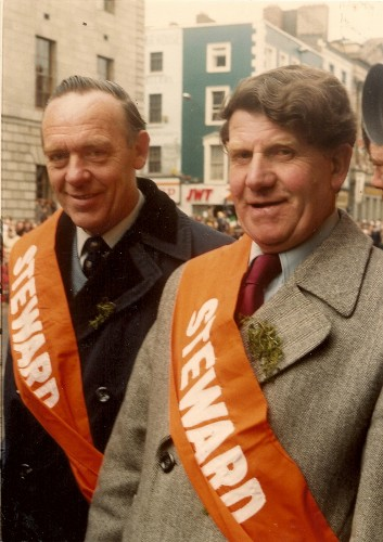 1987 Harry Denny was a very photographed man Harry with a pal on St Patricks Day