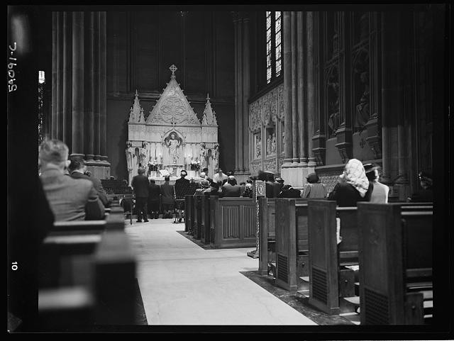 WW2 WWII Library of Congress New York, New York. June 6, 1944. Seven o'clock mass on D-day in the Lady Chapel, Saint Patrick's Cathedral