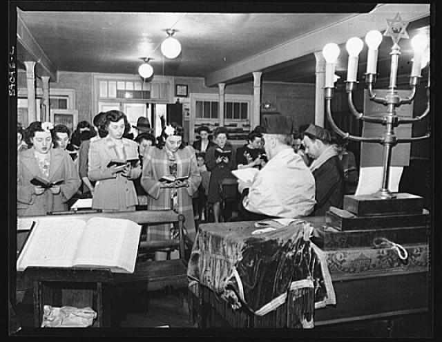 WW2 WWII Library of Congress New York, New York. June 6, 1944. D-day services in a synagogue on West Twenty-third Street