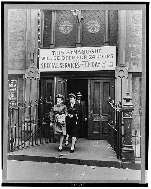 WW2 WWII Library of Congress New York, New York. June 6, 1944. D-day sevices in a synagogue on West Twenty-third Street