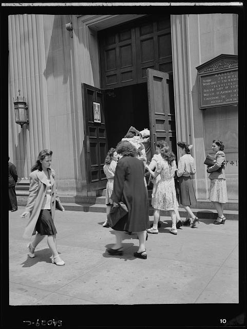 WW2 WWII Library of Congress New York, New York. June 6, 1944. Noon mass at Saint Vincent de Paul's Church on D-day