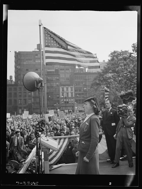 WW2 WWII Library of Congress New York, New York. June 6, 1944. A woman addressing the crowd at the D-day rally at Madison Square
