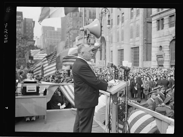 WW2 WWII Library of Congress New York, New York. June 6, 1944. Monsignor William E. Cashin at the D-day rally in Madison Square