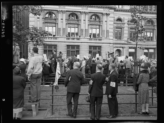 WW2 WWII Library of Congress New York, New York. A crowd on D-day in Madison Square