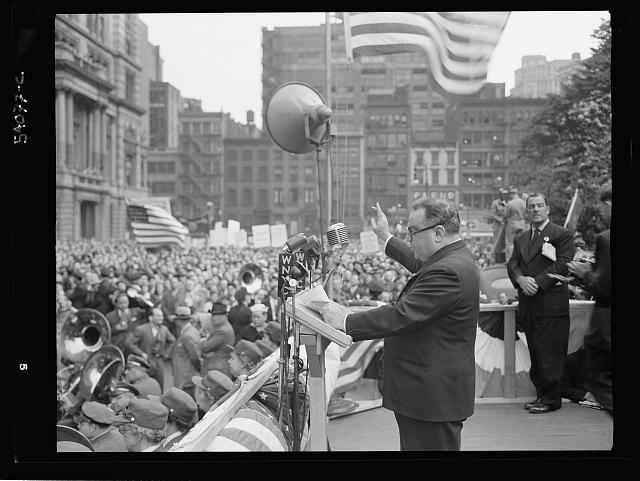 WW2 WWII Library of Congress New York, New York. Mayor Fiorello La Guardia at the D-day rally in Madison Square