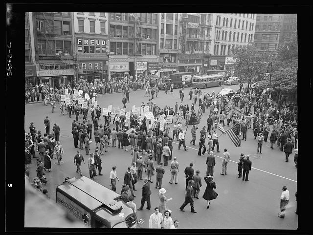 WW2 WWII Library of Congress New York, New York. June 6, 1944. Part of the parade on D-day, Madison Square