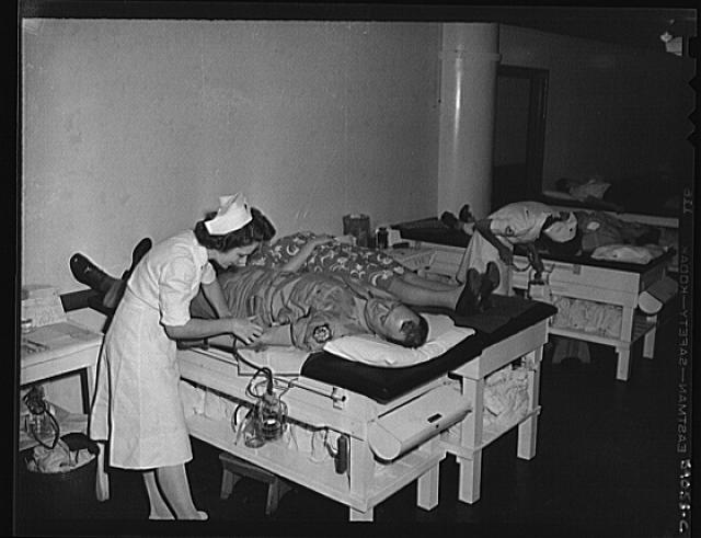 WW2 WWII New York, New York. June 6, 1944. Blood donors on D-day