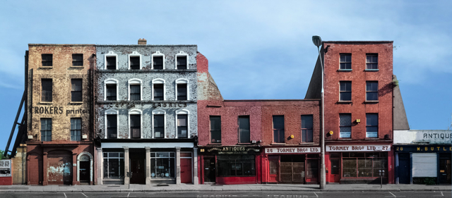 Auction House and Antique Dealers on Lower Ormond Quay, Dublin, 1991. Ultra High Resolution image stitched from 12 medium format negatives taken in 1991.