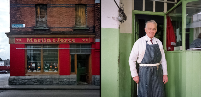 William Gallagher of Martin+Joyce's Butcher shop, the last working premise in this block of Benburb Street, Dublin. Photograph taken in 1992, diptych assembly in 2014