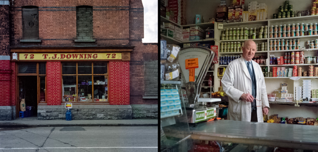 T.J. Downing's grocery shop on Benburb Street, Dublin, with Mr. Downing. Photographs taken in 1992, assembled to diptych in 2014