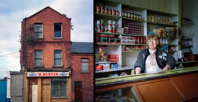 Hunter's grocery shop, near Benburb Street, Dublin, with Ms Patricia Hunter. Photograph taken in 1992, assembled to diptych in 2014.