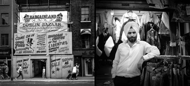 Dublin Bazaar, Thomas Street West, showing typical period advertising, and a salesman. photographs taken in August 1988, combined into a diptych in 2014.