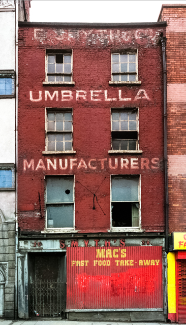 Umbrella Manufacturers: Derelict building on Essex Quay, Dublin, 1988. Medium format photographs taken in 1988, combined to panorama in 2014.