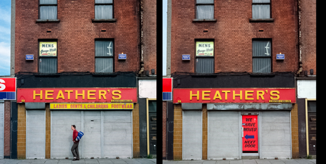 Heather's Footwear, Dublin, Arran Quay, was forced to move premises due to dereliction. Images taken in 1988, combined to a diptych in 2014.