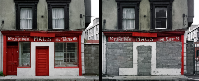Mac's Home Bakery in King Street, Dublin, has closed down. Images taken in 1991 and 1992, combined into a diptych in 2014.