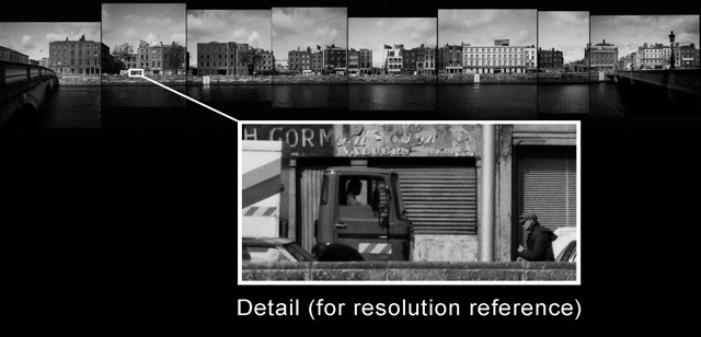 Part 5 of a continuous high resolution black and white panorama of Dublin´s North Liffey Quays from Sarsfield Quay to Eden Quay, taken in 1985, digitally combined in 2014.