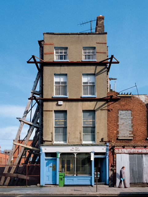 The Post Office is the last house standing in this block of Upper Ormond Quay. Photograph taken in August 1988, digitally combined from medium format negative scans in 2014.
